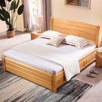 【新品热卖】实木床现代简约1.8米1.5米北欧床主卧高箱储物床实木中式双人床 +乳胶床垫+2个G303床头柜 1800m