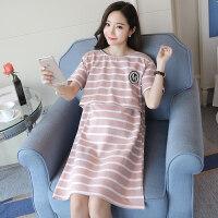 夏季大码孕妇喂奶睡衣产后哺乳条纹韩版家居月子服休闲外穿连衣裙ZT-08