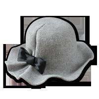 秋冬天毛呢帽子女士英伦时尚圆礼帽 韩国黑色百搭盆帽渔夫帽潮 头围57-60cm(小头围的谨慎购买)