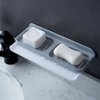 肥皂盒吸盘壁挂式个性创意沥水香皂架家用卫生间免打孔双层置物架