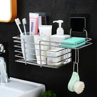 浴室置物架不锈钢收纳架壁挂收纳架卫生间免打孔卫浴置物架 金属长方挂篮带肥皂盒