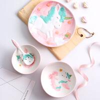 【优选】家用动物碗碟可爱独角兽陶瓷4件套韩式个性创意餐具儿童饭碗单个