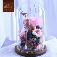 永生花礼盒玫瑰花玻璃罩情人节礼物送女友爱人生日礼品