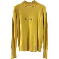 简约高领针织衫女打底冬季新款包袖绣花字母显瘦保暖套头毛衣上衣 均码