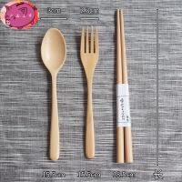 原木叉勺筷盒套装 便携筷子木质勺子叉子布袋创意餐具 勺筷套装餐具