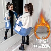 2019冬季新款韩版洋气童装加绒加厚夹克女童秋冬装毛呢外套