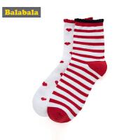 巴拉巴拉儿童袜子棉学生中筒袜保暖春季新款女童棉袜小女孩两双装