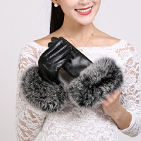 女式真皮手套大狐狸毛口韩版潮女士绵羊皮手套冬季保暖手套