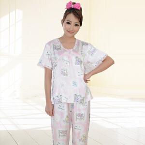 金丰田女士睡衣 夏季短袖仿真丝性感可爱家居服套装1374