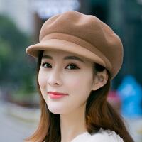 帽子女士韩版秋冬季羊毛呢贝雷帽英伦气质时尚百搭鸭舌八角帽礼帽