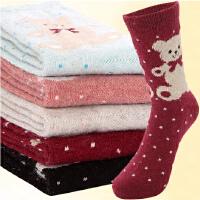 [5双装]内慧 男女保暖袜 秋冬款 加厚袜子 可爱熊兔羊毛女士棉袜子保暖中筒袜  5008