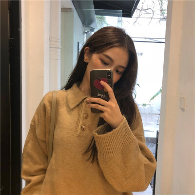春季韩版新款百搭显瘦POLO领套头长袖毛衣宽松慵懒风针织衫外套女