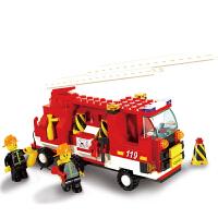 小鲁班 益智拼插塑料积木儿童玩具 消防局消防车积木 3000