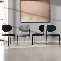 北欧铁艺家用餐椅餐厅椅子 现代简约软包休闲椅书桌椅轻奢靠背椅