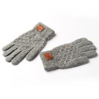 毛线触屏手套男 冬季保暖加厚针织男士手套冬季保暖骑车生