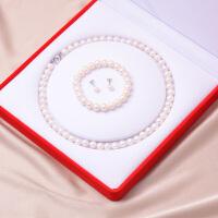 母亲节 淡水珍珠项链女近圆正品锁骨链套装母亲节送妈妈婆婆生日礼物 9-10mm 50cm