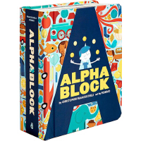 Alphablock 英文原版 字母造型 绘本纸板书 镂空设计,艺术典范之作 1-3岁宝宝