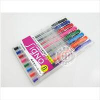 日本三菱笔UM-100双珠�ㄠ�彩色水笔中性笔 8色套装