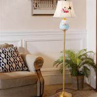 中式手绘陶瓷落地灯卧室书房客厅落地灯现代简约别墅全铜装饰灯具