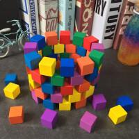 正方体积木块立方体几何数学教具原木制正方形建筑模型方块几何体模具摆件