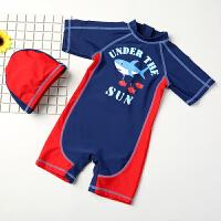 儿童泳衣男童 婴儿游泳衣中游泳裤连体泳装带帽长袖防晒
