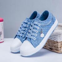 春秋季休闲平底鞋低帮薄款透气中学生帆布鞋女板鞋潮运动布鞋