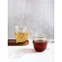 透明过滤茶杯大容量花茶杯办公室泡茶杯家用带盖水杯玻璃杯