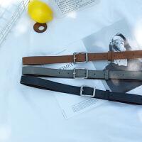 韩版皮带uzzlang长方形银扣chic复古简约女士宽腰带PU皮灰色