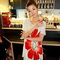 慈颜CIYAN 孕妇装夏装 韩版孕妇裙 大花朵孕妇T恤裙 款MLF1059
