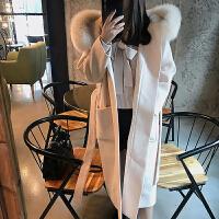 赫本呢子大衣女新款2018中长款毛呢外套设计感女小众秋冬 杏色 (夹棉)