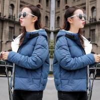 短款连帽棉衣外套女冬季新款蓬蓬面包服韩版棉袄冬装加厚 蓝色 M