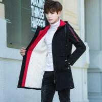 男士外套冬季加绒加厚中长款风衣休闲连帽夹克男装韩版学生外衣潮