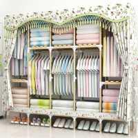 衣柜简易布衣柜实木组装家用收纳出租房用宿舍加粗网红布艺布柜橱
