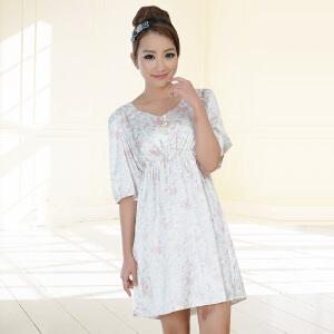 金丰田女士夏季短袖睡裙 女式仿真丝印花睡裙1578