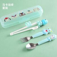 歪把勺 儿童训练筷子家用宝宝餐具套装婴幼儿小孩学习练习吃饭勺子叉一段