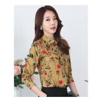 加绒保暖衬衫女长袖中年衬衣韩版修身雪纺衫女式印花加厚打底衫