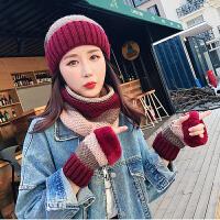 帽子女冬季保暖毛线帽加绒加厚冬天骑车防风护耳针织围脖三件套