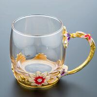 珐琅彩水杯茶杯子家用玻璃杯珐琅杯花茶杯啤酒杯情侣礼物生日礼品