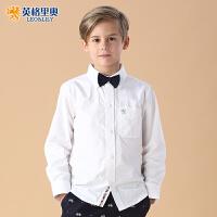 男童长袖衬衫班服2018春季新款童装白色中大童长袖儿童男纯棉衬衣