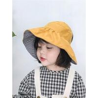 女童大檐无顶渔夫帽子宝宝盆帽韩版潮夏季儿童双面遮阳帽空顶帽