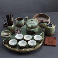 【好店】【好店】禅意功夫茶具套装陶瓷茶盘蓄水茶壶茶杯盖碗家用简约茶具茶道粗陶