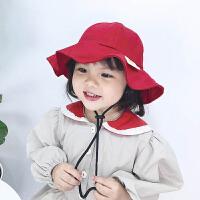 女童遮阳帽大檐帽太阳帽盆帽夏季儿童帽子春秋女宝宝渔夫帽