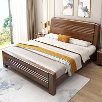 金丝胡桃木实木床新中式1.8米储物床高箱简约现代婚床双人床1.5米 +山棕床垫 1500mm*2000mm 箱框结构
