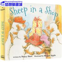 Sheep in a Shop 小羊逛商店 英文原版 纸板书 廖彩杏书单英文儿童读物 原版进口
