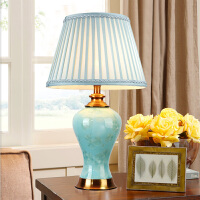 美式陶瓷台灯客厅卧室床头灯欧式简约梳妆台复古乡村温馨婚庆灯具