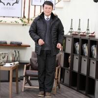 中老年棉衣棉裤男套装爸爸装冬季外套棉袄加绒加厚外穿两件套 8628黑色套装 M
