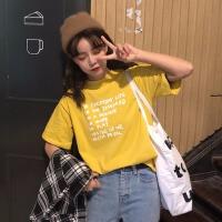 体恤女2019春装新款韩版百搭基础款字母印花短袖体恤学生打底上衣