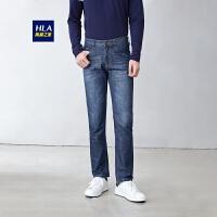 HLA/海澜之家简约宽松版牛仔裤舒适透气男士长裤