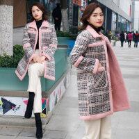 羊羔毛外套女2018冬季新款韩版加绒加厚中长款ins小香风格子毛呢