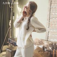 纱布月子服家居服女月子睡衣纱布中长袖白色套装九分裤宽松棉麻睡衣春秋ZT-04 米黄色 (模特款)